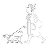 Old woman walks with dog on white background. Graceful grandma. Pensioner free time. Old woman in profile. Old woman silhouette with dog Stock Illustration