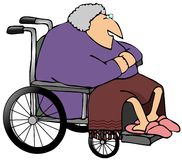 Old Woman In A Wheelchair. This illustration depicts an old woman sitting in a wheelchair with a blanket over her legs Royalty Free Stock Photography
