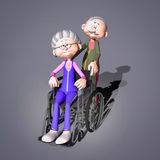 Old woman in wheelchair vector illustration