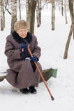 Old woman in the winter Royalty Free Stock Photos