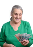 Old Woman With Money Royalty Free Stock Photos