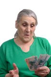 Old Woman With Money Stock Image