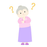 Old woman wondering cartoon character  Royalty Free Stock Photography