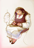 Old woman with wool in traditional Eastern Europe clothes, drawing on paper Stock Photos