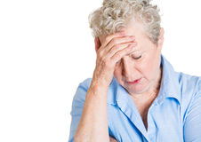 Old woman worrying Stock Images