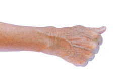 Old woman& x27;s arm with wrinkles on arm with white background, beau Royalty Free Stock Photography