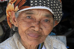 Old woman in Yogyakarta in Indonesia. September 28, 2014 Stock Images