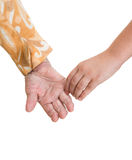 Old woman and young girl  holding hands Stock Images