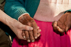 Old Woman, Young Man. Hands, Old Woman, South America Stock Photography