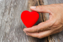Old womans hand holding  a red heart shape. Royalty Free Stock Photo
