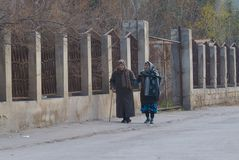 Older women walking on the street Stock Photo