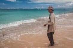 Old women Bali Seaweed farmer. stock photo