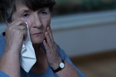 Old women crying Royalty Free Stock Photo