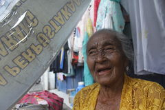 Old women. Daliyem Joyosemito, names old women who saling in a trotoar at Gilingan, Solo, Central of Java Royalty Free Stock Image