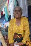 Old women. Daliyem Joyosemito, names old women who saling in a trotoar at Gilingan, Solo, Central of Java Royalty Free Stock Photo
