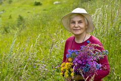 Old women with flowers. Old women with mountains flowers Royalty Free Stock Photo