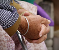 Old women hands. Closeup shot of old women hands royalty free stock image