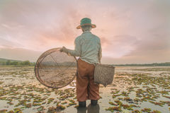 Old women looking for fish Stock Photos