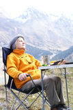Old women in mountain. Autumn Royalty Free Stock Image