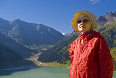 Old women in mountain Stock Images