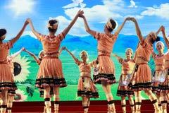 Old women show taiwan gaoshan nationality dance Stock Photo