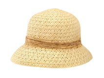Old women straw hat.Isolated. Royalty Free Stock Images