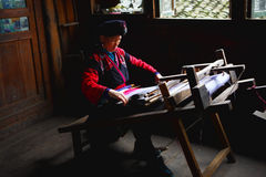 Old women weaving Royalty Free Stock Image