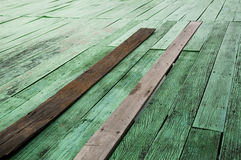 Old wood. Green color and natural old wood floor Stock Image