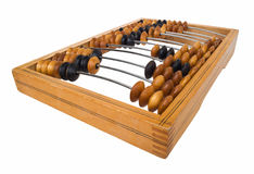 Old wood abacus cutout. Old wood abacus with calculation. Seasoned obsolete counting frame isolated on white  with clipping path Stock Image