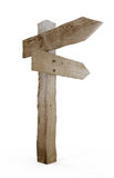 Old wood arrow sign. On a white background  (3d render image Stock Image