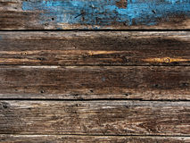 Old Wood Background - blue poured paint Royalty Free Stock Photography