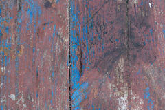 Old wood background. Blue and red painted royalty free stock photos