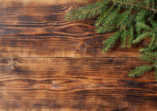 Old wood background with fir branch. Christmas background Stock Photo