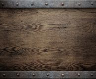 Old wood background with metal frame Royalty Free Stock Image