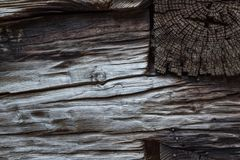 Old wood background with notched joints and nails in hand hewn b. Eams, horizontal aspect Royalty Free Stock Photo