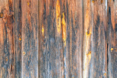 Old wood background texture. Vintage wooden background with knots and nail holes. Stock Photo