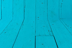 Old Wood Background , wall and floor color blue Royalty Free Stock Photos