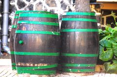 Old wood barre. Old Barrels for Wine on a Private Garden Royalty Free Stock Images