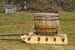 Old Wood Barrel on Sled Stock Image