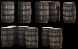 Old Wood Barrels. Old wooden barrels separated from the background using the pen tool, no auto masking. Uploaded to Dreamstime as a .jpg with black background Royalty Free Stock Photography