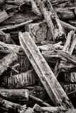 Old Wood Beam Post in Pile of Discarded Trash Wood Stock Images