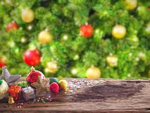Old wood board And decorations in the space available for placing objects. Background Blur Christmas Decoration and New Year conce Royalty Free Stock Image