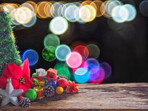 Old wood board And decorations in the space available for placing objects. Background bokeh bubbles colorful. Christmas and New Ye Royalty Free Stock Image