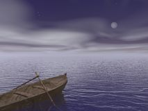 Old wood boat by night - 3d render Royalty Free Stock Photography
