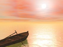 Old wood boat by sunset - 3d render Royalty Free Stock Photos
