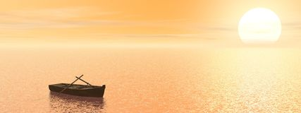 Old wood boat by sunset - 3d render Royalty Free Stock Image