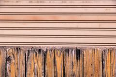 Wood booth and Metal door background Royalty Free Stock Images