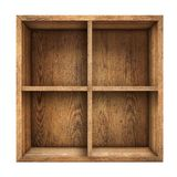 Old wood box or drawer top view isolated Stock Photo