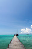 Old wood bridge pier and blue sky, Andaman Sea,  thailand Stock Image