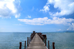 Old wood bridge pier and blue sky, Andaman Sea,  thailand Royalty Free Stock Photography